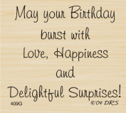 Delightful Surprises Birthday Greeting Rubber Stamp By DRS Designs