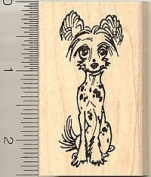 Chinese Crested Dog Rubber Stamp - Wood Mounted