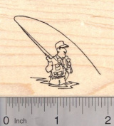 Fly Fishing Fisherman Rubber Stamp, Wading and Casting