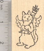 Valentine's Day Cat Cupid Rubber Stamp, with Bow and Quiver of Arrows