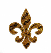 Crystal Heiress Rhinestone Sticker, Fleur De Lis-Zebra, 8.9cm by 11cm , Gold/Black