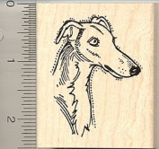 Greyhound Dog Face Rubber Stamp - Wood Mounted