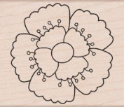 Scalloped Flower Wood Mounted Stamp