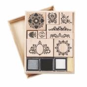 Martha Stewart Crafts Wooden Rubber Stamp Set, Flourish