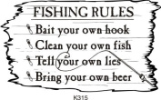 Fishing Rules Rubber Stamp By DRS Designs