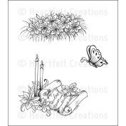 Heartfelt Creations Cling Rubber Stamp Set 5'X6.5' Butterfly and Lilies