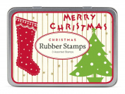 Cavallini 3 Assorted Rubber Stamps Sets, Vintage Christmas
