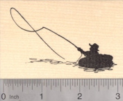 Fly Fishing Raft Rubber Stamp, Sport Fishing Silhouette