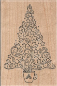 Coffee Bean Tree Wood Mounted Rubber Stamp