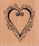 Christmas Heart Wood Mounted Rubber Stamp