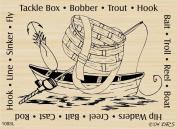 Fishing Square Rubber Stamp By DRS Designs