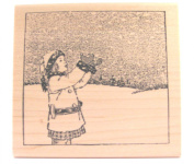 Nature's Blessings Fine Art Stamps, Girl Catching Snowflakes