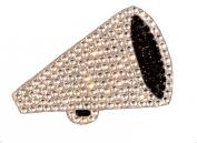 Crystal Heiress Rhinestone Sticker, Megaphone, 12cm by 9.5cm , Silver/Black