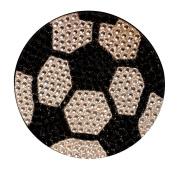 Crystal Heiress Rhinestone Sticker, Soccer Ball, 8.9cm , Silver/Black