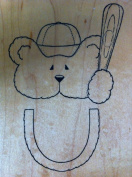 Large Teddy Bear with Baseball Cap and Bat Rubber Stamp