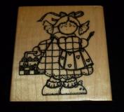 Little Girl Artist Rubber Stamp