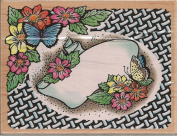 Butterfly Frame Wood Mounted Rubber Stamp