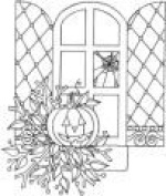 Halloween Window Wood Mounted Rubber Stamp