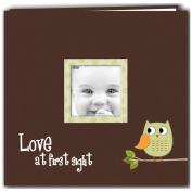 Baby Owl Printed Design Post Bound Scrapbook Album 30cm x 30cm -Green