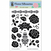 Hot Off The Press Acrylic Stamps 15cm x 20cm Sheet-Flower Silhouettes