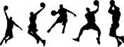 60*45CM A group of men playing basketball PVC Vinyl Art Wall Sticker Boys Room Decals Home Decor P0167 Black