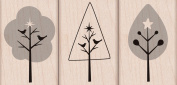 3 Trees With Stars Wood Mounted Stamp Set