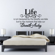 "60*45CM ""Life is...Breath..."" Vinyl Art Wall Stickers Home Decorative Decals Living Room Mural Decor EWQ0107"