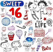 Sweet Sixteen // Clear stamps pack (18cm x 18cm ) FLONZ