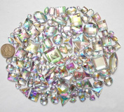 LOVEKITTY TM 100 pc lot - Sew-On Gems - AB Clear Mixed Shapes Flat Back Gems