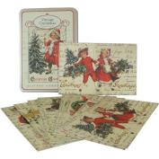 Cavallini Glitter Vintage Greetings Carte Postale in Tin
