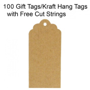 Wrapables 100 Gift Tags/Kraft Hang Tags with Free Cut Strings for Gifts, Crafts & Price Tags - Scalloped Tag