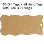 Wrapables 100 Gift Tags/Kraft Hang Tags with Free Cut Strings for Gifts, Crafts & Price Tags - Wavy Tag