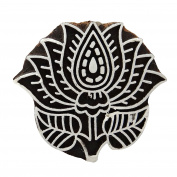Traditional Indian Fabric Stamp Lotus Design Hand Carved Wooden Printing Block
