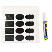 Allydrew Set of 30 Chalkboard Labels / Chalkboard Stickers With Chalk Marker for Organising, Labelling, Gift Tags, Drink / Wine Markers, and Weddings, 5.1cm x 3.2cm Oval, Rectangle, and Fancy Frame