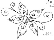 Magenta Self Cling Rubber Stamp Swirly Blossom 11cm x 8.3cm C0446