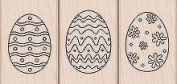 Colour Me Eggs Wood Mounted Rubber Stamp Set