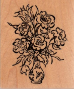 Roses in Vase Wood Mounted Rubber Stamp