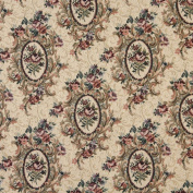140cm Wide F665 Burgundy, Beige And Green, Floral Bouquet Tapestry Upholstery Fabric By The Yard