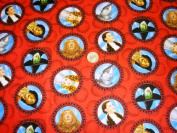 THE WIZARD OF OZ Sewing Quilting Craft JUDY GARLAND as DOROTHY and Friends on Red Fabric