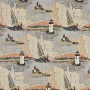 140cm Wide A006, Lighthouses, Calm Water, Sailboats, Themed Tapestry Upholstery Fabric By The Yard