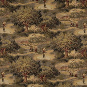 140cm Wide A003, Golfers, Golf Course and Clubhouse, Themed Tapestry Upholstery Fabric By The Yard