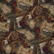 140cm Wide A010, Orchestra, Symphony, Violins, Trumpets and French Horns, Themed Tapestry Upholstery Fabric By The Yard
