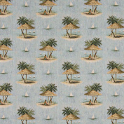 140cm Wide A000, Sailboats, Palm Trees and Shade Umbrella, Themed Tapestry Upholstery Fabric By The Yard