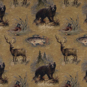 140cm Wide A027, Rustic Bears, Fish, Ducks, Deer and Trees, Themed Tapestry Upholstery Fabric By The Yard