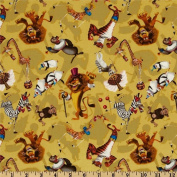 Dreamworks MADAGASCAR 3 CIRCUS Fabric Soft Yellow ALEX the Lion, PENGUINS, MARTY the ZEBRA & More (Great for QUILTING, SEWING, CRAFT PROJECTS, THROW PILLOWS & More) 2 Yards x 110cm Wide