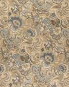 140cm Wide K0025A Gold, Blue and Green, Abstract Paisley Upholstery Fabric By The Yard
