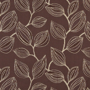 140cm Wide K0029A Brown and White, Large Leaves Contemporary Upholstery Fabric By The Yard