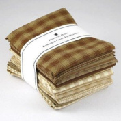 Brown Natural Tan Homespun Fabric Cheques Stripes Fat Quarter (12 pk) Bundle 100% Cotton 46cm X 60cm By Dunroven House