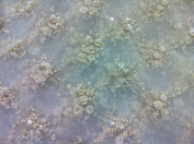 Ivory Mesh W/gold Embroidery Pearl Beads & Sequins Bridal Lace Fab 130cm Wide By the Yard