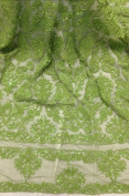 Green beaded Sequins Bridal Lace Corded Fabric 130cm By the Yard